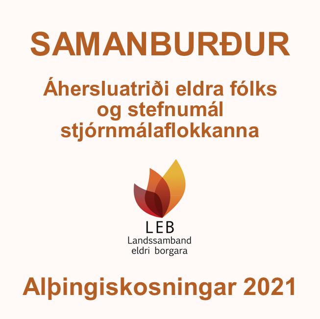 Samanburður LEB á áherslumálum eldra fólks og stefnumálum stjórnmálaflokkanna 2021